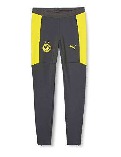 PUMA BVB Training Pant Pockets and w/Zip Legs JR Jogginghose, Asphalt-Cyber Yellow, 152