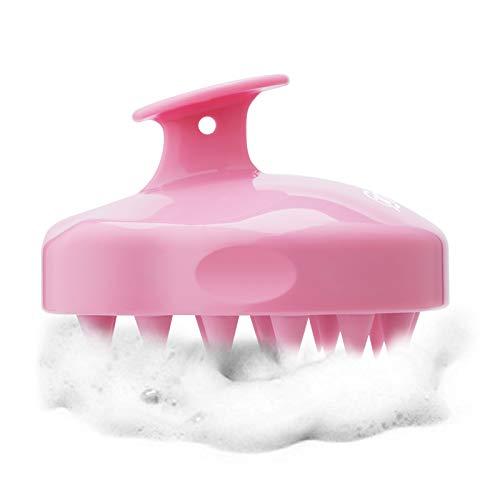 FReatech Kopfhaut Massagebürste [Nass & Trocken], Shampoo Haarbürste für Peeling und Kopfmassage, Silikonkamm Pflege Haarwurzel, Healthy Head ohne Schuppen, Stimuliert das Haarwachstum, Rosa