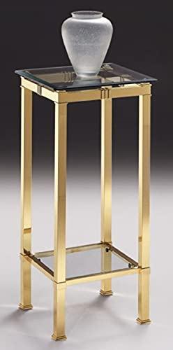 Casa Padrino Columna de Lujo latón 39 x 39 x A. 85 cm - Mesa Auxiliar de latón Noble con Tapas de Vidrio - Muebles de Salón - Calidad de Lujo