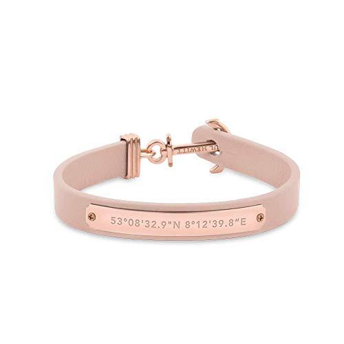 PAUL HEWITT Anker Armband Signum Koordinaten - Armband Leder Damen (Rosa) mit Anker Schmuck aus Edelstahl (Silber)