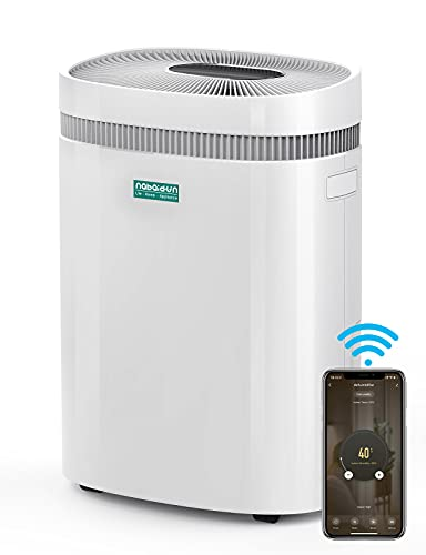 Dehumidifier-[2021 Upgraded] 50 Pints 3000Sq. Ft Dehumidifiers with WiFi APP Remote Control Universal Wheels Damp Rid Moisture Absorber for Home Basement Bedroom Business Closet Garage Living Rooms