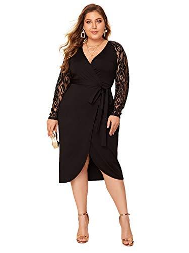 SheIn Women's Plus Elegant Contrast Lace Sleeve Self Belted Wrap Stretchy Bodycon Pencil Dress Black XX-Large Plus