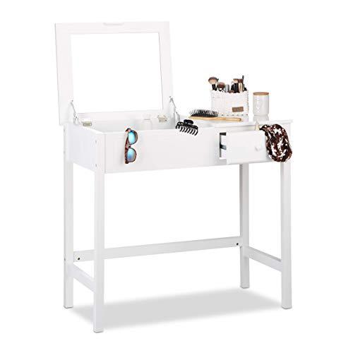 Relaxdays wit, make-uptafel, eenvoudige kaptafel, met klapspiegel, 1 lade, opbergen, HBT 82x91x48 cm, standaard