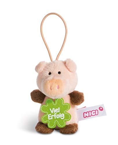 NICI 44864 Anhänger Schwein mit Spruch Viel Erfolg 8cm mit Loop, rosa/braun