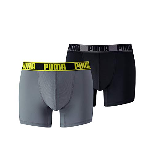 PUMA Herren Active Boxer 2P Packed Unterwäsche, Grey Yellow, XL (2er Pack)