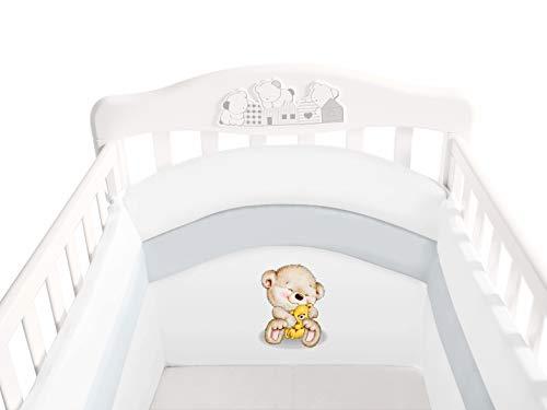 Paracolpi Lettino Bambino 4 Lati - Alto 45 cm Imbottitura Extra 3 cm - Paracolpi Culla Con Protezione Totale Del Neonato - 2° Generazione - Easyavant - Babycaress (125x65 cm, Bianco)