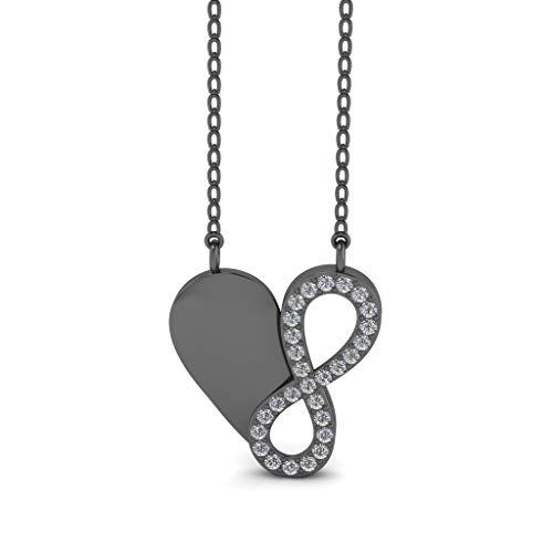 Jbr - Collar de plata de ley con forma de corazón e infinty, para boda, aniversario, día de San Valentín, para esposa, novia y niña, con caja de regalo