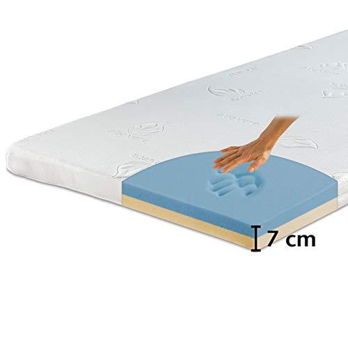 maxVitalis Visko-Gelschaum Topper orthopädisch, Wendefunktion: 2-Härtegrade & 2-Materialien, Matratzenauflage atmungsaktiv, inkl. Aloe Vera Bezug (90 x 190 cm, Visko-Gelschaum 7 cm)
