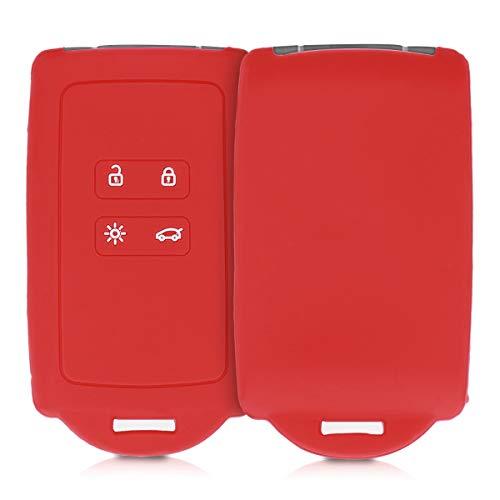 kwmobile Funda de Silicona Compatible con Renault Llave de Coche Smart Key de 4 Botones (Solo Keyless Go) - Carcasa Protectora para Llavero - Case Mando de Auto Rojo