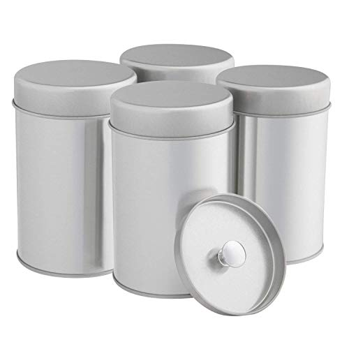 Tea Tin Canister with Airtight Double Lids for Loose Tea and Tea Bags - Small Kitchen Canisters for Tea Coffee Sugar Storage, Loose Leaf Tea Tin Containers by SilverOnyx - Tea Canister - 4 pc