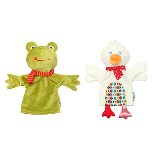 TOYANDONA 2 Piezas de Marioneta de Mano de Animal Divertido Juguete de Felpa de Pato Rana con Brazos Móviles Juguetes de Mano Familiar para Niños Juego de Cuentos Juego de rol Enseñanza