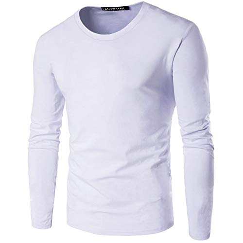 Camiseta de Manga Larga con Cuello Redondo y Manga Larga para Hombre de Color sólido