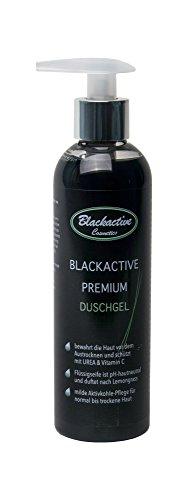 Blackactive Premium Duschgel Duschpflege schwarz 250 ml mit Aktivkohle - Charcoal shower gel black