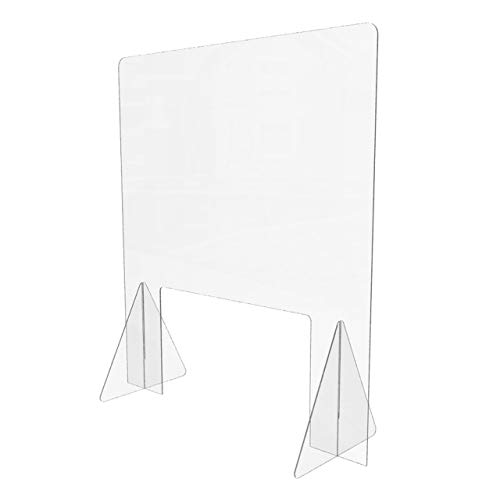 Sneeze Guard for Counter (32'W x 36'H), Freestanding Plexiglass Shield with Transaction Window, Portable Clear Acrylic Plastic Barrier for Countertops, Desk, Cashier, Manicurist [Made in USA]
