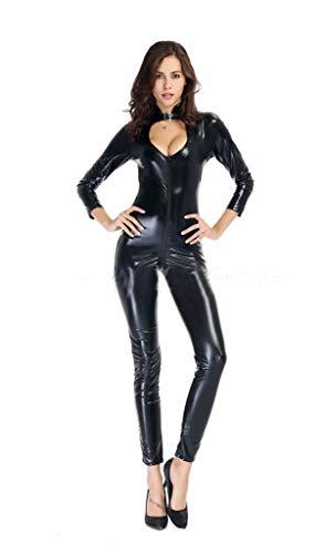 EverNight Een stuk lakleer leren kleding nachtclub strak lichaam extra groot formaat motorfiets kat sexy skinny
