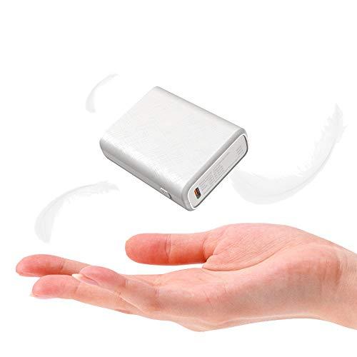 TNTOR Powerbank klein, 10000mAh Externer Akku mit USB C Input und Output, Elfenbein weiß
