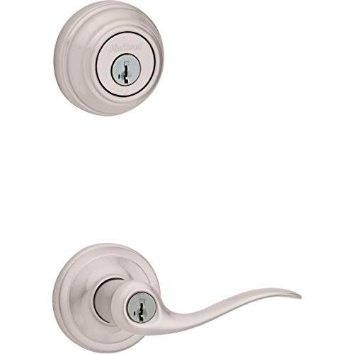 Kwikset Tustin Keyed Entry Lever and Single Cylinder Deadbolt Combo Pack with Microban Antimicrobial Protection featuring SmartKey Security in Satin Nickel