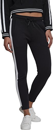 Urban Classics Damen Ladies Interlock Joggpants Sporthose, Schwarz (Black/White 00826), 42 (Herstellergröße: XL)