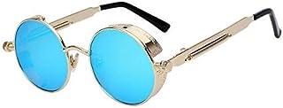 XIU Round Metal Sunglasses Steampunk Fashion Glasses Brand Retro Vintage Eyewear UV400 (Mirror Blue)