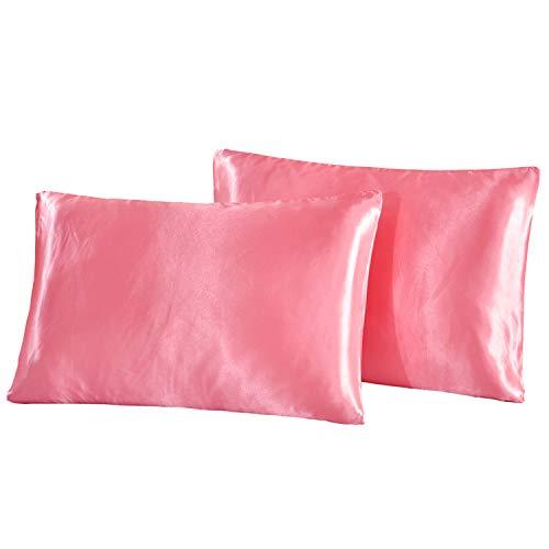 HONGCI Juego de 2 fundas de almohada de satén, fundas de almohada de microfibra lisas para cabello y piel, suave, antiarrugas y resistente a las manchas, fundas de almohada estándar (rosa, 50 x 75 cm)