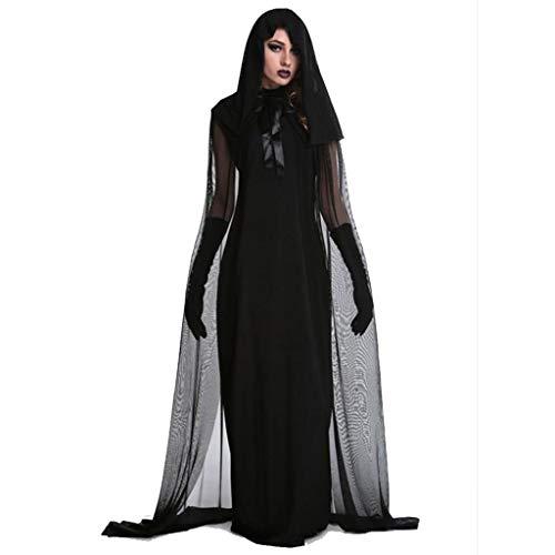 XRQ Disfraz de Novia Vampiro de Halloween, Disfraz de Bruja Sexy Europea COS, Disfraz de Diablo Brujo, Incluyendo Falda, Manto,Negro,S