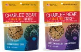 Charlee Bear Grain Free Bear Crunch Dog Treats 2 Flavor Variety Bundle: (1) Bacon & Blueberry Flavor and (1) Turkey, Sweet Potato & Cranberry Flavor, 8 Ounces Each