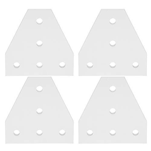 203040 Piastra di giunzione, staffa di giunzione a 5 fori in lega di alluminio, piastra di riparazione a forma di T, argento per stampante 3D per edilizia(2020T type)