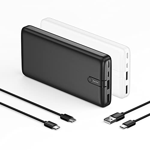 IEsafy 2-Pack 20000mAh Portable Charger Fast Charging Power Bank with USB C Input & Micro Input, Ultra Slim Backup Battery for iPhone 12/11/Pro iPad Samsung Galaxy S10 HUAWEI Tablet and More