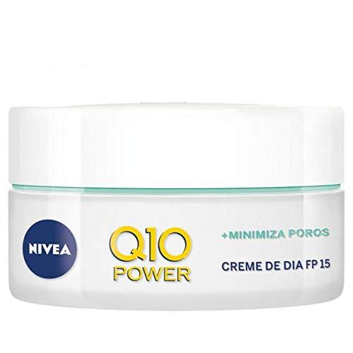 NIVEA Q10 Power Antiarrugas Cuidado de Día (1 x 50 ml), crema facial antiarrugas para piel mixta, crema hidratante con protector solar 15, crema antiedad, Negro