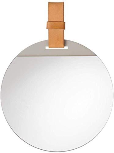 ZYLZL Espejo de baño Espejo de maquillaje montado en la pared Espejos de tocador redondos de metal montados en la pared con correa colgante de cuero sintético Maquillaje cosmético,30cm de diám