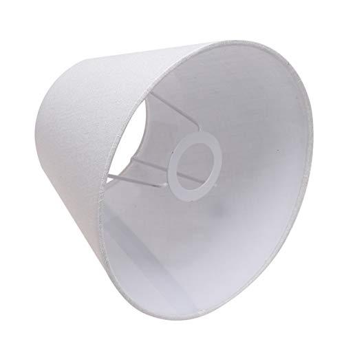 Minkissy - Paralume in tessuto bianco, con clip su lampadario, paralume in lino, per tavolo, lampadario, lampada da parete, soggiorno, camera da letto