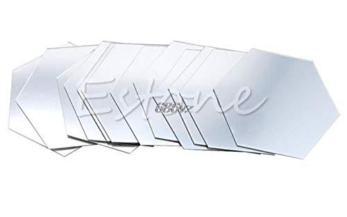 Nuevas pegatinas de pared calificadas 12 piezas 3D espejo hexagonal vinilo extraíble etiqueta de la pared calcomanía decoración del hogar arte Diy N24 Drop Ship, plata, Xs