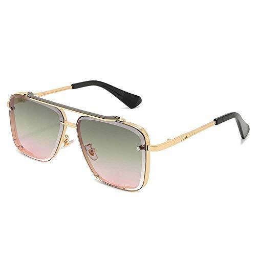 Gafas de sol boutique para hombre, gafas de caja de doble haz, lentes de corte de personalidad