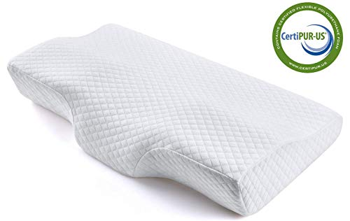 Memory Foam Pillow, Ergonomic Cervical Pillow for Neck Pain for Side Sleepers, Back and Stomach Sleepers, Orthopedic Sleeping Pillow with Pillow Case - Standard Size