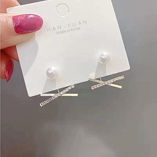 LOKILOKI Pendientes De Perlas De Joyería De Plata Esterlina 925 Pendientes De Perlas Naturales Finas 8-9mm para Mujer