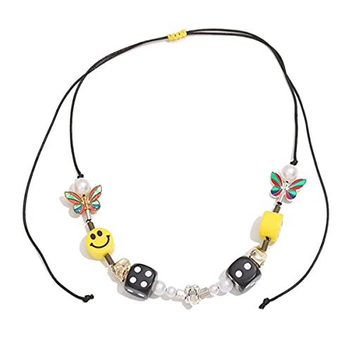 Collar de Cuerda a la Moda para Hombres, Collar de Mariposa Multicolor con Cara Sonriente Amarilla y Perla de Calavera de Dados, Pulsera de Hip Hop, Novedad de 2020