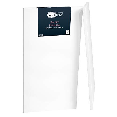 Artina Set de 2 lienzos blancos preestirados Premium con bastidores estables de madera FSC® - 70x100 cm - Lienzos para pintar pretratados - 100% algodón 380g/m²