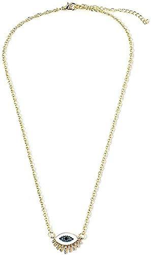 ZGYFJCH Co.,ltd Collar de Moda Lindo Collar de Ojo Grande Azul Blanco Diamantes de imitación Ojos turcos Collares Pendientes para Regalo Colgante Collar niñas niños Regalo
