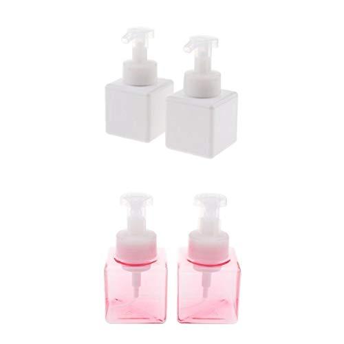 Fenteer 4x 250ml Flacon Pompe à Mousse Liquide Pompe à Savon Liquide Rechargeable de Salle de Bain - Blanc + rose