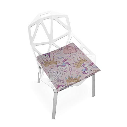 Cojín del asiento de la silla Animación romántica Princesa linda del castillo Almohadillas de la silla de espuma de memoria antideslizante suave Cojines Asiento para la cocina del hogar Escritorio de