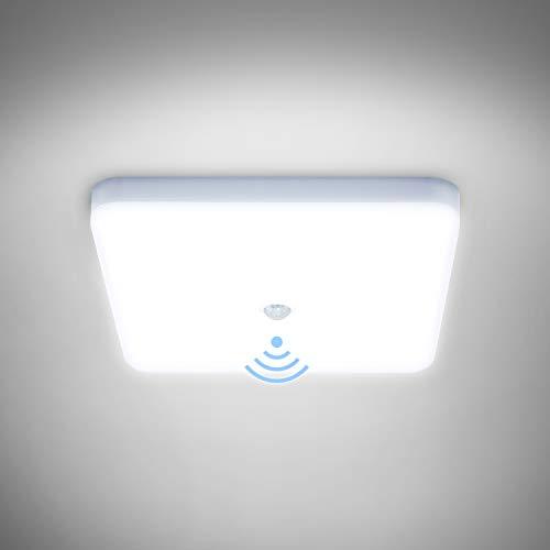 Combuh LED Plafón con Sensor Movimiento 30W Impermeable IP56 Blanco Frío 6000K 2400Lm Cuadrado Lampara de Techo para Cocina, Baño, Oficina, Porche, Garaje 25 * 25 * 4cm