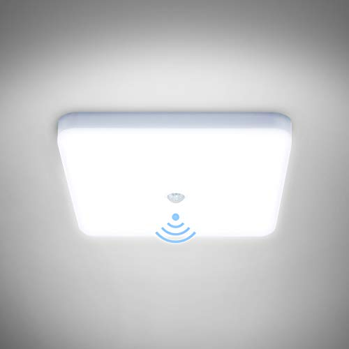 Combuh Plafonnier LED avec Détecteur de Mouvement 30W Étanche IP56 2400LM Blanc Froid 6000K Carré Lampe de Plafond pour Extérieur, Salle de Bain, Couloir, Balcon, Garage, Cuisine Ø25CM