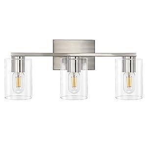 DRNANLIT 3-Light Vanity Light, Brushed Nickel Bathroom Lighting Fixtures Over Mirror, Modern Metal Wall Lights for Hallway Kitchen Bedroom Living Room