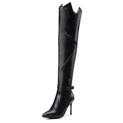 HEmei Botas largas de Mujer, Elegantes Botas de Tubo Altas de otoño/Invierno en Punta Botas con Cordones de tacón de Aguja Sexy para Mujer (Color : Segundo, tamaño : 33)
