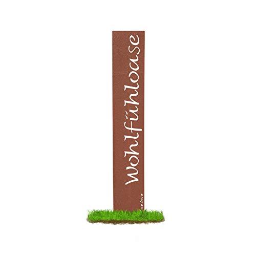 """prima terra \""""Wohlfühloase Gartenstele Edelrost Stele Dekoration Gartendekoration Deko Garten H=120cm B=20cm"""