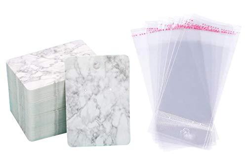 QUUPY - Juego de 100 tarjetas para pendientes, collar y tarjetas de presentación de papel con 100 bolsas autosellables