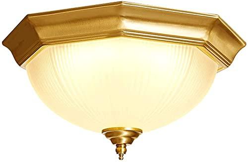Lámpara de techo Luz de cobre completo de la sala de estar, lámpara de techo del porche del corredor de balcón europeo, lámpara de techo de vidrio curvado