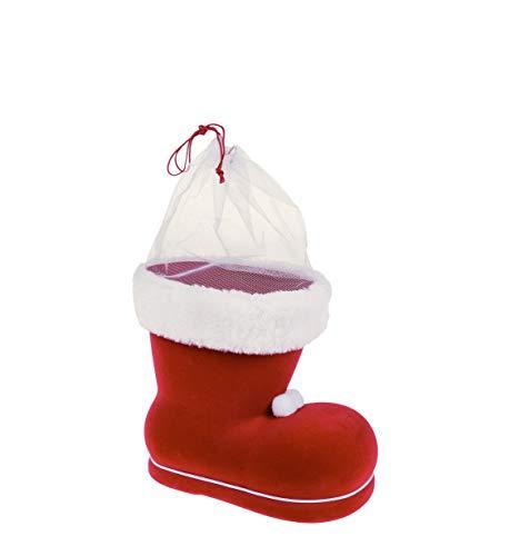 Idena 8550015 - Scarponi di Babbo Natale rossi, da riempire, regalo, imballaggio, Natale