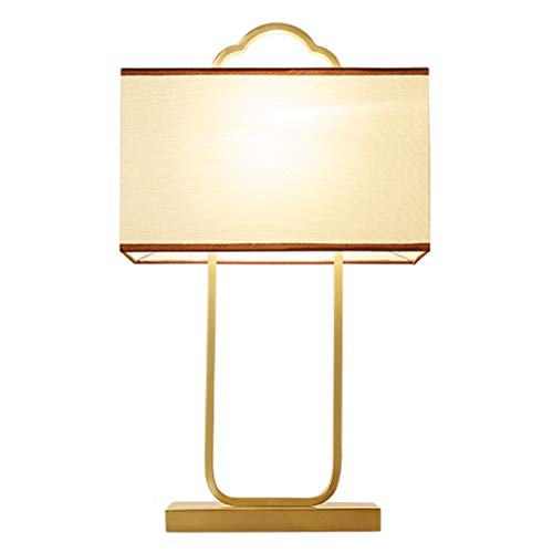 Lámpara de Mesa Estudio lámpara de mesa chino dormitorio lámpara de cabecera Escritorio antiguo base de cobre de la lámpara rectangular de lino pantalla de la tela de la lámpara de la sala alta de 23,