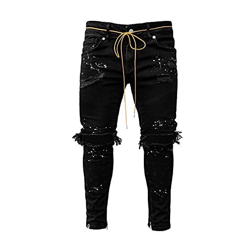 XIALIUXIA Pantalones Vaqueros Hombre Rotos, Denim Skinny Moda Pantalones Slim Fit Jeans Rotos Ripped Flaco Jeans,Black,XXL